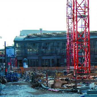 Baustellenübersichtsfoto nach Fertigstellung der Untergeschosse im Rohbau, Stadtbahnhof Friedrichstraße
