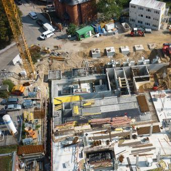 Aufsicht der Baustelle Charité Campus Mitte – Neubau OP/ITS-Gebäude